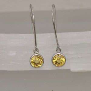 Shop Yellow Sapphire Earrings! Round Yellow Sapphire Dangle Earrings in Handmade Bezel Settings | Natural genuine Yellow Sapphire earrings. Buy crystal jewelry, handmade handcrafted artisan jewelry for women.  Unique handmade gift ideas. #jewelry #beadedearrings #beadedjewelry #gift #shopping #handmadejewelry #fashion #style #product #earrings #affiliate #ad