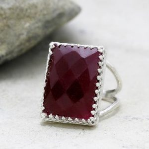 Shop Ruby Rings! Ruby ring,Rectangular ring,large ring,statement ring,silver ring,rectangle ring,wow ring,July birthstone | Natural genuine Ruby rings, simple unique handcrafted gemstone rings. #rings #jewelry #shopping #gift #handmade #fashion #style #affiliate #ad