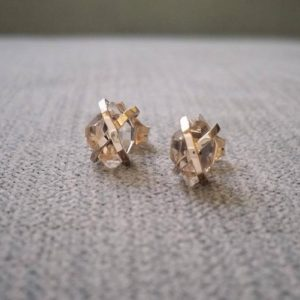 """Shop Herkimer Diamond Earrings! Rustic Herkimer Diamond Earrings Nordic Terminated Quartz Old World Norse Mythology Viking 14K Yellow Gold  """"The Frigg"""" 
