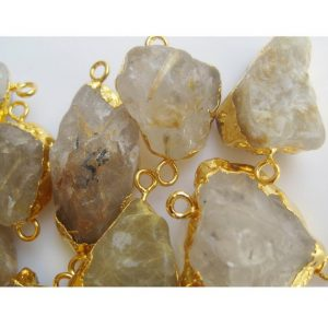 Shop Rutilated Quartz Chip & Nugget Beads! Gold Rutilated Quartz Connector, Raw Gemstone Connectors, Natural Gold Rutile Connectors, Gold Rutile Rough, 5 Pieces, 22mm To 28mm Approx | Natural genuine chip Rutilated Quartz beads for beading and jewelry making.  #jewelry #beads #beadedjewelry #diyjewelry #jewelrymaking #beadstore #beading #affiliate #ad