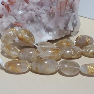 Shop Rutilated Quartz Chip & Nugget Beads! Golden Rutilated Quartz Smooth Nugget Beads 18 In. Full Strand, Natural Nugget Shape Golden Rutilated Quartz  17 Beads | Natural genuine chip Rutilated Quartz beads for beading and jewelry making.  #jewelry #beads #beadedjewelry #diyjewelry #jewelrymaking #beadstore #beading #affiliate #ad