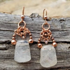 Shop Rutilated Quartz Earrings! Rutilated Quartz Earrings, Quartz and Copper Earrings, Unique Rutile Quartz Earrings | Natural genuine Rutilated Quartz earrings. Buy crystal jewelry, handmade handcrafted artisan jewelry for women.  Unique handmade gift ideas. #jewelry #beadedearrings #beadedjewelry #gift #shopping #handmadejewelry #fashion #style #product #earrings #affiliate #ad