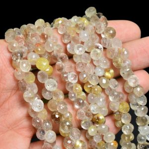 Shop Rutilated Quartz Faceted Beads! Rutilated Quartz Gemstone Faceted Onion Briolettes | AAA+ Golden Rutile Natural Semi Precious Gemstone 8mm Onion Beads for Jewelry Making | Natural genuine faceted Rutilated Quartz beads for beading and jewelry making.  #jewelry #beads #beadedjewelry #diyjewelry #jewelrymaking #beadstore #beading #affiliate #ad