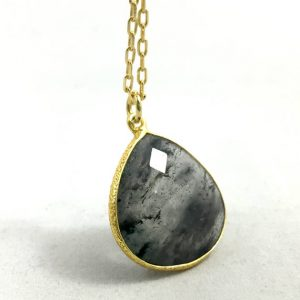 "Shop Rutilated Quartz Necklaces! Rutilated Quartz Gold Plated Necklace With 18"" Chain 
