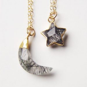 Shop Rutilated Quartz Jewelry! Moon Star Rutilated Quartz Gold Necklace Celestial | Natural genuine Rutilated Quartz jewelry. Buy crystal jewelry, handmade handcrafted artisan jewelry for women.  Unique handmade gift ideas. #jewelry #beadedjewelry #beadedjewelry #gift #shopping #handmadejewelry #fashion #style #product #jewelry #affiliate #ad