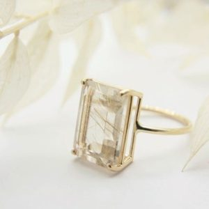 Rutilated Quartz Ring, Golden Rutilated Quartz Ring, 16×12 Emerald Cut, Gold Rutilated Quartz, Emerald Cut Cocktail Ring, Statement Ring | Natural genuine Rutilated Quartz rings, simple unique handcrafted gemstone rings. #rings #jewelry #shopping #gift #handmade #fashion #style #affiliate #ad