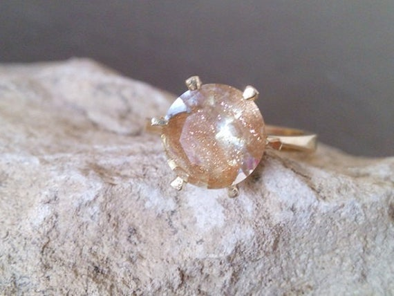Sale!rutilated Quartz Ring, Prong Ring,delicate Ring,stacking Ring, Statement Ring,rutilated Quartz Ring,fancy Ring,gold Ring,vintage Ring
