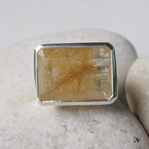 Shop Rutilated Quartz Jewelry! Rutliated Quartz Statement Ring- Gold Rutilated Quartz Ring- Gold Quartz SolitaireRing- Rectangle Shape Gemstone Ring- Unique Stone Ring | Natural genuine Rutilated Quartz jewelry. Buy crystal jewelry, handmade handcrafted artisan jewelry for women.  Unique handmade gift ideas. #jewelry #beadedjewelry #beadedjewelry #gift #shopping #handmadejewelry #fashion #style #product #jewelry #affiliate #ad
