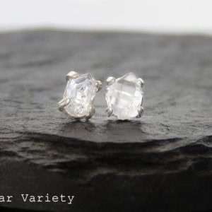 SALE 25% OFF, Herkimer Diamond Earrings, herkimer raw diamond studs, salt and pepper crystal point dimaond earring, natural crystal | Natural genuine Gemstone jewelry. Buy crystal jewelry, handmade handcrafted artisan jewelry for women.  Unique handmade gift ideas. #jewelry #beadedjewelry #beadedjewelry #gift #shopping #handmadejewelry #fashion #style #product #jewelry #affiliate #ad