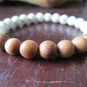 Shop Magnesite Bracelets! Sandalwood and Magnesite Bracelet, Wood Beaded Bracelet, Wrist Mala, Yoga Bracelet,Energy Bracelet, Meditation Bracelet, Buddhist | Natural genuine Magnesite bracelets. Buy crystal jewelry, handmade handcrafted artisan jewelry for women.  Unique handmade gift ideas. #jewelry #beadedbracelets #beadedjewelry #gift #shopping #handmadejewelry #fashion #style #product #bracelets #affiliate #ad