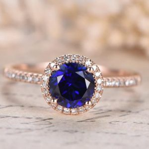 Blue Sapphire Engagement Ring 14K Rose Gold Diamond Wedding Ring 7mm Round Lab-treated Blue Sapphire Ring Diamond Wedding Band Women Ring | Natural genuine Array rings, simple unique alternative gemstone engagement rings. #rings #jewelry #bridal #wedding #jewelryaccessories #engagementrings #weddingideas #affiliate #ad