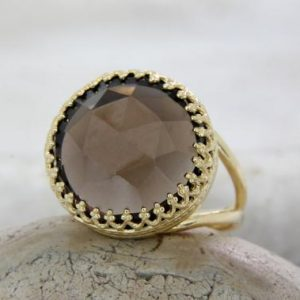 Smoky Quartz Ring, personalized Ring, gold Ring, big Large Ring, gemstone Ring, mother's Gift, sister's Ring, famil | Natural genuine Smoky Quartz rings, simple unique handcrafted gemstone rings. #rings #jewelry #shopping #gift #handmade #fashion #style #affiliate #ad