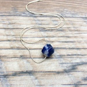 Shop Sodalite Necklaces! Sodalite Choker Necklace Sterling Silver – Throat Chakra – Dainty Necklace | Natural genuine Sodalite necklaces. Buy crystal jewelry, handmade handcrafted artisan jewelry for women.  Unique handmade gift ideas. #jewelry #beadednecklaces #beadedjewelry #gift #shopping #handmadejewelry #fashion #style #product #necklaces #affiliate #ad