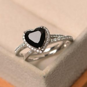 Shop Spinel Jewelry! Black spinel ring, heart cut black gemstone, halo rings, engagement ring with a band | Natural genuine Spinel jewelry. Buy handcrafted artisan wedding jewelry.  Unique handmade bridal jewelry gift ideas. #jewelry #beadedjewelry #gift #crystaljewelry #shopping #handmadejewelry #wedding #bridal #jewelry #affiliate #ad