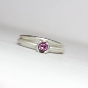 Shop Spinel Rings! Delicate Wedding Ring Set Purple Spinel Silver Half Bezel Bridal Band Minimalistic Understated Violet Faceted Gemstone For Her – Sugarplum | Natural genuine Spinel rings, simple unique alternative gemstone engagement rings. #rings #jewelry #bridal #wedding #jewelryaccessories #engagementrings #weddingideas #affiliate #ad