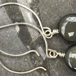 Shop Rainbow Obsidian Earrings! Sterling Silver Medium Hoop Ear Wires with Small Coin Rainbow Obsidian Earrings | Natural genuine Rainbow Obsidian earrings. Buy crystal jewelry, handmade handcrafted artisan jewelry for women.  Unique handmade gift ideas. #jewelry #beadedearrings #beadedjewelry #gift #shopping #handmadejewelry #fashion #style #product #earrings #affiliate #ad