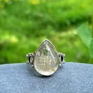 Shop Rutilated Quartz Rings! Sterling Silver & Rutilated Quartz Ring Size 7 1/2 | Natural genuine Rutilated Quartz rings, simple unique handcrafted gemstone rings. #rings #jewelry #shopping #gift #handmade #fashion #style #affiliate #ad