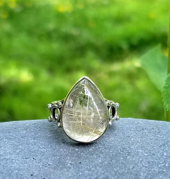 Healing Ring Jewellery Yellow Jewelry Wire Wrapped Ring Rutile Silver Ring 925 Sterling Silver Jewelry Golden Rutile Ring Gemstone Ring