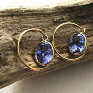 Shop Tanzanite Earrings! 14k Yellow Gold Natural Tanzanite (3.60 Ct) Hoop Earrings, Appraised 1, 304 Usd | Natural genuine Tanzanite earrings. Buy crystal jewelry, handmade handcrafted artisan jewelry for women.  Unique handmade gift ideas. #jewelry #beadedearrings #beadedjewelry #gift #shopping #handmadejewelry #fashion #style #product #earrings #affiliate #ad