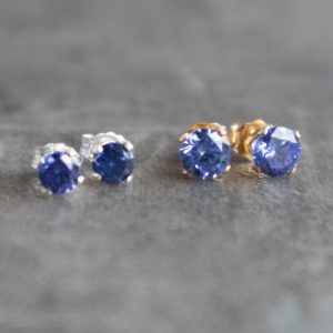 Shop Tanzanite Jewelry! Tanzanite Cz Stud Earrings, Small Gemstone Ear Studs, Minimalist Jewelry Gift For Her, Bridesmaids Earrings | Natural genuine Tanzanite jewelry. Buy crystal jewelry, handmade handcrafted artisan jewelry for women.  Unique handmade gift ideas. #jewelry #beadedjewelry #beadedjewelry #gift #shopping #handmadejewelry #fashion #style #product #jewelry #affiliate #ad