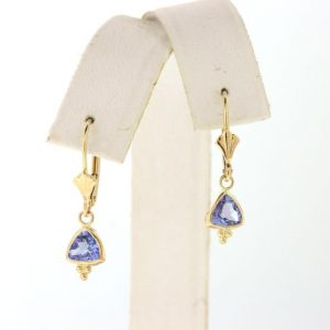 Shop Tanzanite Earrings! Tanzanite Earrings, Yellow Gold Tanzanite Dangle Earrings, Trillion Tanzanite Leverback Earrings | Natural genuine Tanzanite earrings. Buy crystal jewelry, handmade handcrafted artisan jewelry for women.  Unique handmade gift ideas. #jewelry #beadedearrings #beadedjewelry #gift #shopping #handmadejewelry #fashion #style #product #earrings #affiliate #ad