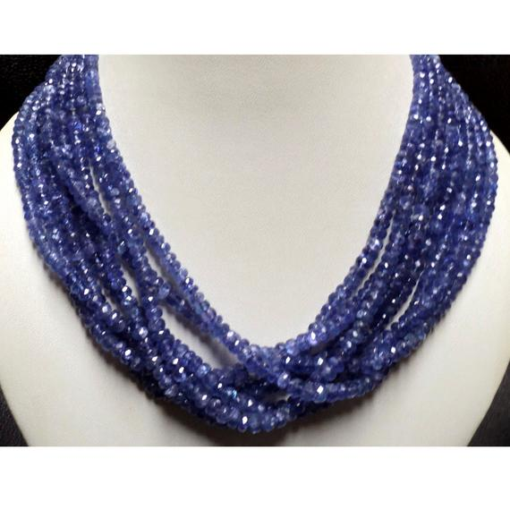 Natural Tanzanite Faceted Rondelle Beads 5mm To 3mm Tanzanite Rondelles 16 Inch Full Strand 145 Pieces Approx.
