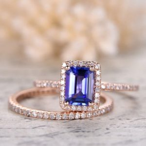Shop Tanzanite Jewelry! 5x7mm Vs Natural Tanzanite Ring Set, 14k Rose Gold Engagement Ring Emerald Cut Wedding Ring Diamond Band, party Gift, promise Ring, thin Band | Natural genuine Tanzanite jewelry. Buy handcrafted artisan wedding jewelry.  Unique handmade bridal jewelry gift ideas. #jewelry #beadedjewelry #gift #crystaljewelry #shopping #handmadejewelry #wedding #bridal #jewelry #affiliate #ad