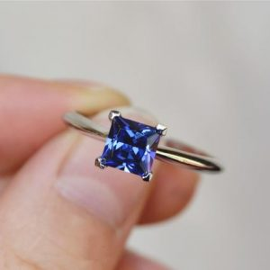 Shop Tanzanite Rings! Princess Lab Tanzanite Ring Tanzanite Engagement Ring/ Wedding Ring Promise/ Anniversary Ring | Natural genuine Tanzanite rings, simple unique alternative gemstone engagement rings. #rings #jewelry #bridal #wedding #jewelryaccessories #engagementrings #weddingideas #affiliate #ad