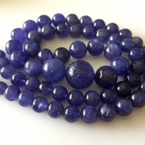Shop Tanzanite Round Beads! Natural Aaa Tanzanite Smooth Round Beads, Rare Shape And Color Tanzanite Beads, 7mm To 14mm, 20 Inch Strand, Gds812 | Natural genuine round Tanzanite beads for beading and jewelry making.  #jewelry #beads #beadedjewelry #diyjewelry #jewelrymaking #beadstore #beading #affiliate #ad