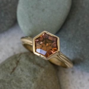 Tawny Zircon Ring, Yellow Gold Hexagon Ring, Eco Amber Gemstone Ring, Six Sided Champagne Zircon, Handmade in America, Faceted by Toracca | Natural genuine Zircon rings, simple unique handcrafted gemstone rings. #rings #jewelry #shopping #gift #handmade #fashion #style #affiliate #ad