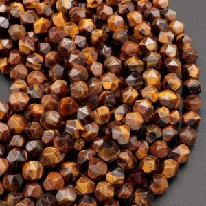 "Shop Tiger Eye Chip & Nugget Beads! Star Cut Natural Tiger Eye Beads Faceted 6mm 8mm Rounded Nugget Sharp Facets 15"" Strand 