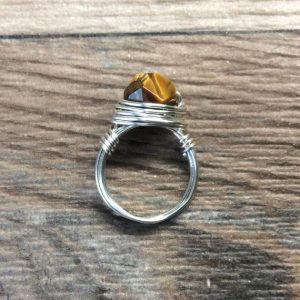 Shop Tiger Eye Rings! Tigers eye ring – Sterling silver or 14k gold filled faceted wire wrapped gemstone ring   Natural genuine Tiger Eye rings, simple unique handcrafted gemstone rings. #rings #jewelry #shopping #gift #handmade #fashion #style #affiliate #ad
