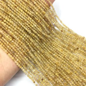 Tiny Golden Rutilated Quartz Micro Faceted Beads 2mm 3mm Natural Small Citrine Spacers Yellow Crystal Beads Semi Precious Bracelet Earring | Natural genuine faceted Rutilated Quartz beads for beading and jewelry making.  #jewelry #beads #beadedjewelry #diyjewelry #jewelrymaking #beadstore #beading #affiliate #ad