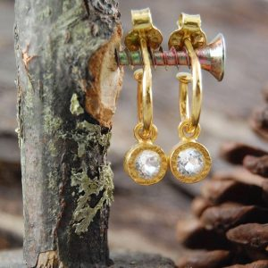 Topaz Small Hoop Earrings, Gold Dangle Earrings, Gold Earrings, Bridal Earrings, Gemstone Hoops, Clear Stone Earrings, Gold Vermeil, 925 | Natural genuine Gemstone earrings. Buy handcrafted artisan wedding jewelry.  Unique handmade bridal jewelry gift ideas. #jewelry #beadedearrings #gift #crystaljewelry #shopping #handmadejewelry #wedding #bridal #earrings #affiliate #ad