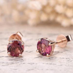 Shop Tourmaline Earrings! Pink Tourmaline Engagement Earrings Solid 18k Rose Gold Wedding Studs 6mm Natural Tourmaline Studs Earrings Anniversary Jewelry Promise Gift | Natural genuine Tourmaline earrings. Buy handcrafted artisan wedding jewelry.  Unique handmade bridal jewelry gift ideas. #jewelry #beadedearrings #gift #crystaljewelry #shopping #handmadejewelry #wedding #bridal #earrings #affiliate #ad