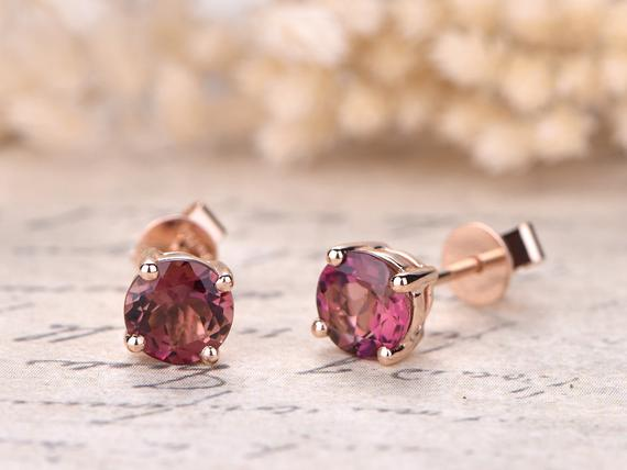 Pink Tourmaline Engagement Earrings Solid 18k Rose Gold Wedding Studs 6mm Natural Tourmaline Studs Earrings Anniversary Jewelry Promise Gift