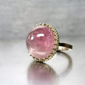 Shop Tourmaline Rings! Large Pink California Tourmaline Cabochon Ring 14K Yellow Gold Royal Crown American Blush Gemstone Statement Piece Her – Himalayan Princess | Natural genuine Tourmaline rings, simple unique handcrafted gemstone rings. #rings #jewelry #shopping #gift #handmade #fashion #style #affiliate #ad
