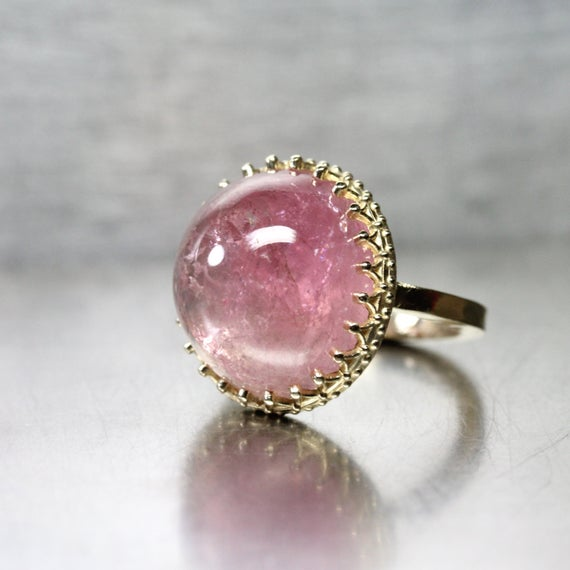 Large Pink California Tourmaline Cabochon Ring 14k Yellow Gold Royal Crown American Blush Gemstone Statement Piece Her - Himalayan Princess