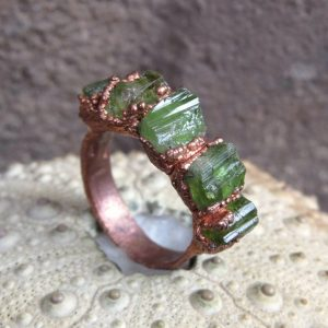 Shop Tourmaline Rings! Raw green tourmaline copper electroformed ring, october birthstone ring | Natural genuine Tourmaline rings, simple unique handcrafted gemstone rings. #rings #jewelry #shopping #gift #handmade #fashion #style #affiliate #ad