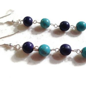 Shop Turquoise Earrings! Turquoise Earrings – Turquoise Navy Blue Jewelry – Sterling Silver Jewellery – Dangle – Mod – Fashion – Gemstone | Natural genuine Turquoise earrings. Buy crystal jewelry, handmade handcrafted artisan jewelry for women.  Unique handmade gift ideas. #jewelry #beadedearrings #beadedjewelry #gift #shopping #handmadejewelry #fashion #style #product #earrings #affiliate #ad