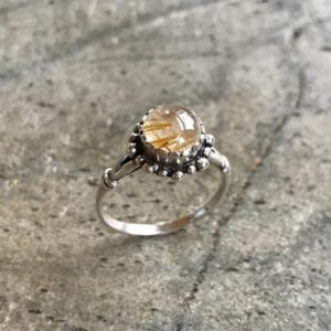 Shop Rutilated Quartz Jewelry! Vintage Ring, Rutilated Quartz, Leo Birthstone, Natural Gem, Golden Rutilated, Quartz Ring, Gold Quartz, Vintage Rings, Solid Silver Ring | Natural genuine Rutilated Quartz jewelry. Buy crystal jewelry, handmade handcrafted artisan jewelry for women.  Unique handmade gift ideas. #jewelry #beadedjewelry #beadedjewelry #gift #shopping #handmadejewelry #fashion #style #product #jewelry #affiliate #ad