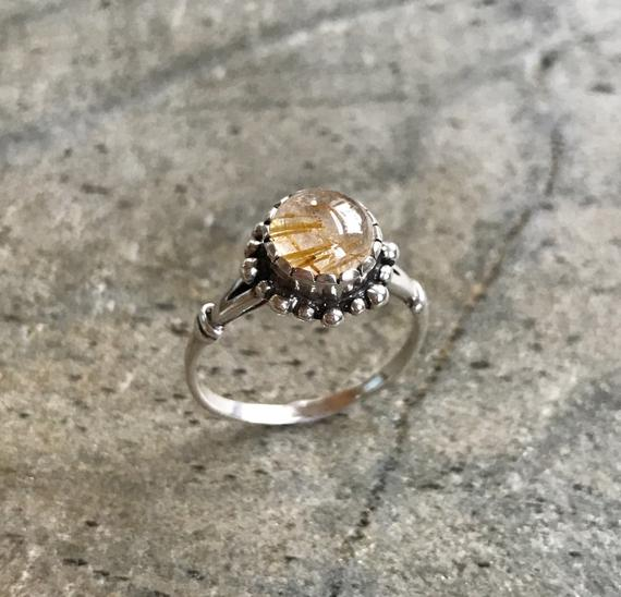 Vintage Ring, Rutilated Quartz, Leo Birthstone, Natural Gem, Golden Rutilated, Quartz Ring, Gold Quartz, Vintage Rings, Solid Silver Ring