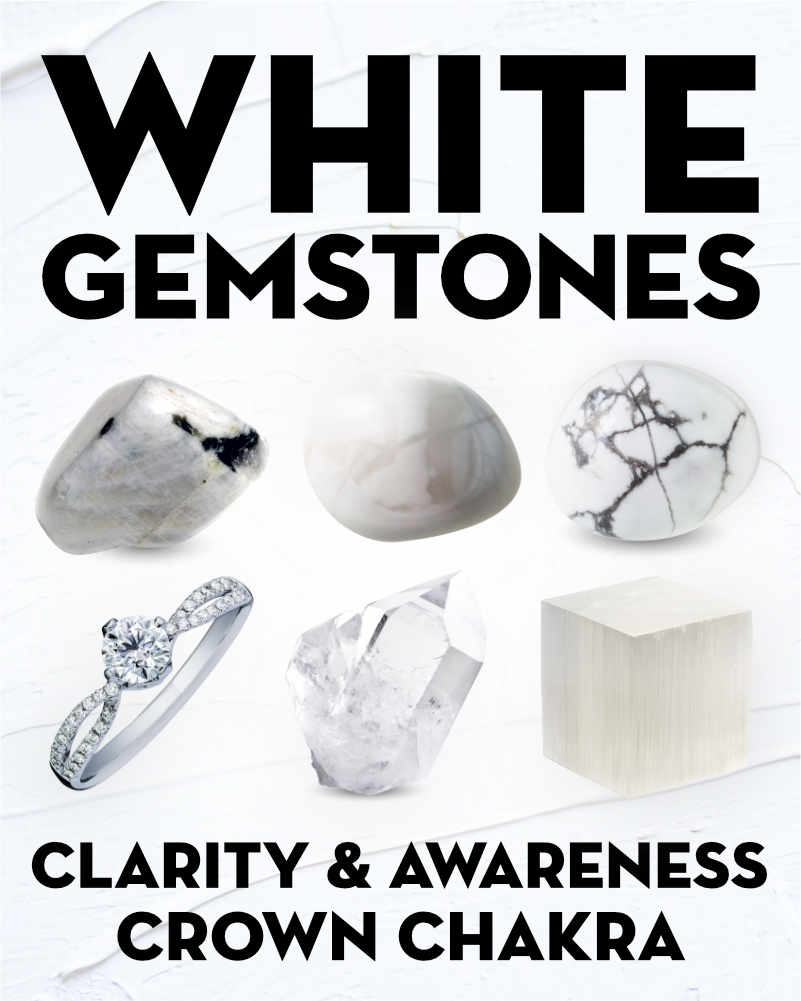 What Do White Gemstones & Crystals Mean?. Learn the names and meanings of white and transparent gems and crystals including howlite, selenite, magnesite, quartz, opal, moonstone, and diamond.