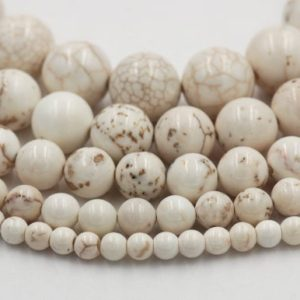Shop Magnesite Beads! White Magnesite 4mm, 6mm, 8mm, 10mm, 12mm Round Beads Wholesale-15.5 inch strand | Natural genuine round Magnesite beads for beading and jewelry making.  #jewelry #beads #beadedjewelry #diyjewelry #jewelrymaking #beadstore #beading #affiliate #ad