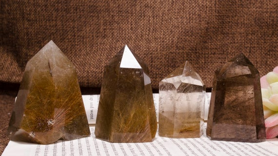 Wholesale Natural Gold Rutilated Tower-clear Smoky Quartz-obelisk-dense Filaments-beautiful Threads Included-rainbow-polished Raw Stone