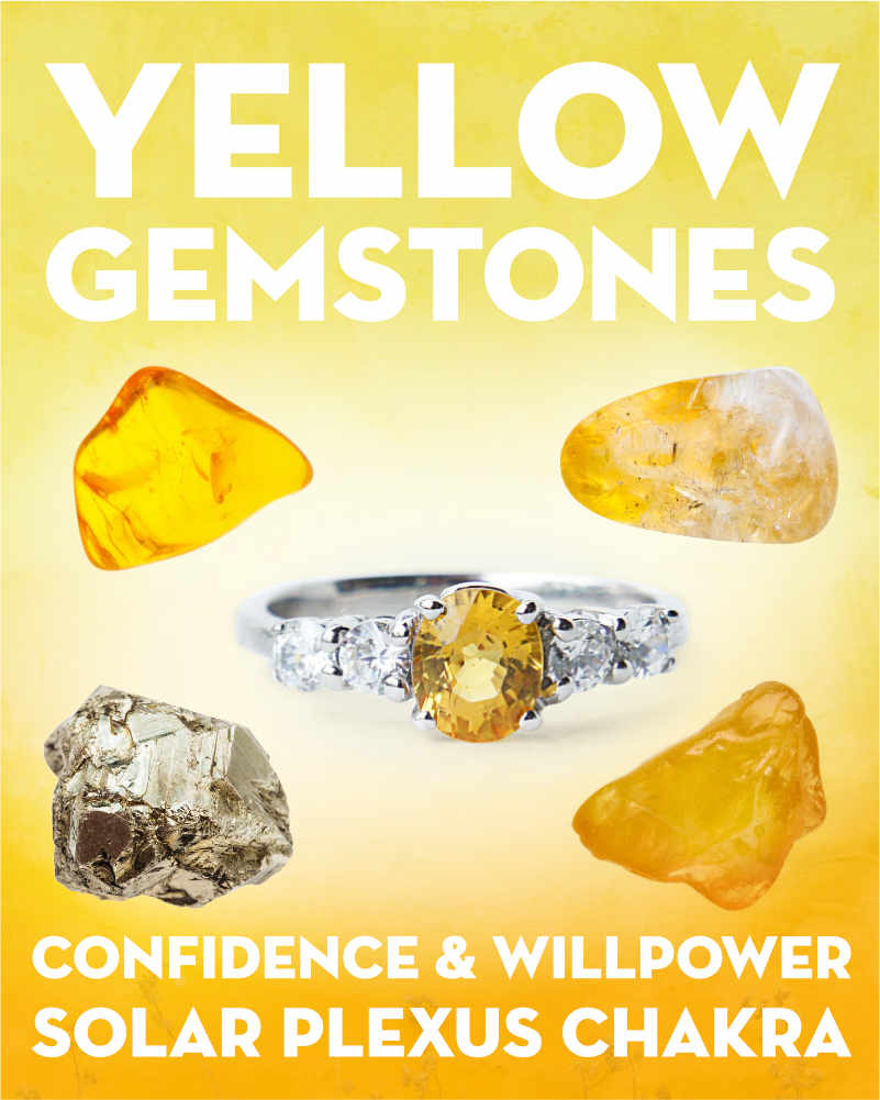 What Do Yellow Gemstones & Crystals Mean?. Explore the meanings of yellow crystals & gemstones including citrine, pyrite, yellow topaz, yellow sapphire, amber, and ametrine. What do yellow gemstones mean? Yellow gemstones correspond to the third chakra (solar plexus), confidence, and self-expression. Each stone has a different meaning, but the theme with yellow crystals is about finding your inner sense of your own power and ability to create results i... #gemstones #crystals #beadage