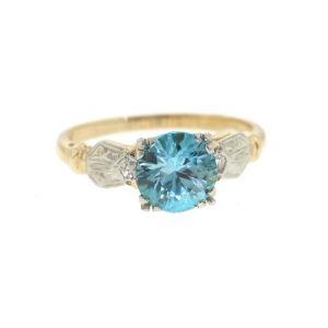 Shop Zircon Rings! Vintage Blue Zircon Ring, Mid Century Blue Zircon Ring, Yellow Gold December Birthstone Ring | Natural genuine Zircon rings, simple unique handcrafted gemstone rings. #rings #jewelry #shopping #gift #handmade #fashion #style #affiliate #ad