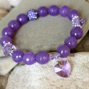 Shop Agate Bracelets! Lavender Agate Bracelet, 12mm Agate Bracelet, Purple Agate Bracelet, Purple Bead Bracelet, Lavender Crystal Bracelet, Agate Wrist Mala | Natural genuine Agate bracelets. Buy crystal jewelry, handmade handcrafted artisan jewelry for women.  Unique handmade gift ideas. #jewelry #beadedbracelets #beadedjewelry #gift #shopping #handmadejewelry #fashion #style #product #bracelets #affiliate #ad