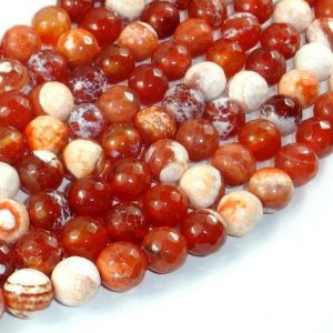 Shop Red Agate Beads! Fire Agate Beads, Orange & White, 10mm Faceted Round, 14.5 Inch, Full strand, Approx 37 beads, Hole 1mm (122025313) | Natural genuine beads Agate beads for beading and jewelry making.  #jewelry #beads #beadedjewelry #diyjewelry #jewelrymaking #beadstore #beading #affiliate #ad