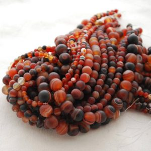 "Shop Red Agate Beads! High Quality Grade A Natural Madagascar Agate Semi-precious Gemstone Frosted / Matt Round Beads – 4mm, 6mm, 8mm, 10mm sizes – 15.5"" strand 